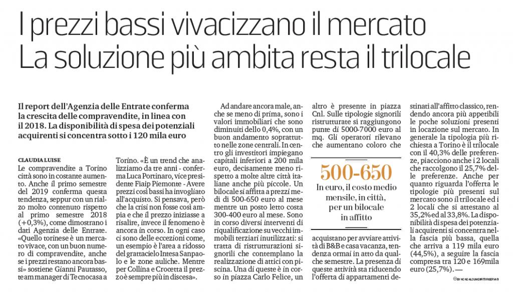 Il report dell'Agenzia delle Entrate conferma la crescita delle compravendite - articolo La Stampa ed. Torino