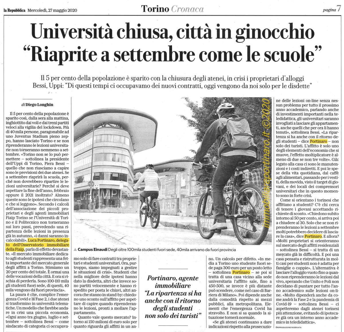 articolo Repubblica 27 maggio 2020, le Università chiuse danneggiano il mercato degli affitti a studenti.